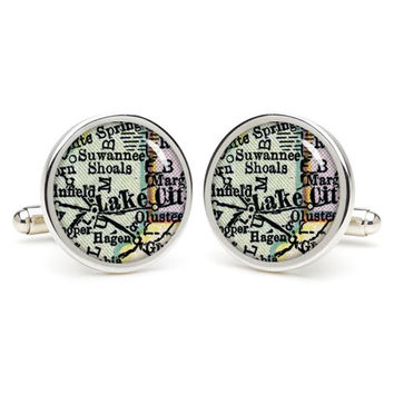 USA Lake  city map cufflinks , wedding gift ideas for groom,perfect gift for dad,great gift ideas for men,groomsmen cufflinks,presents  gift