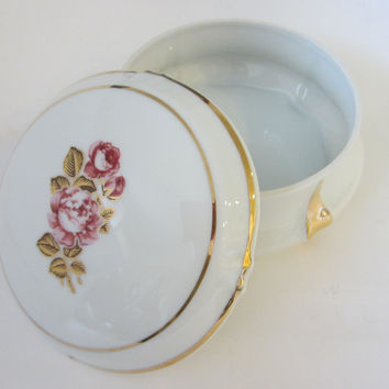 Limoges France Rose Medallion Porcelain Box