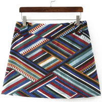 Multicolor Stripe Print Corduroy Skirt