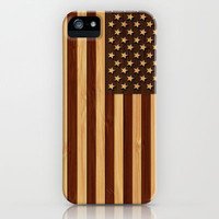 Bamboo Look & Engraved Vintage American USA Flag iPhone & iPod Case by casehunter