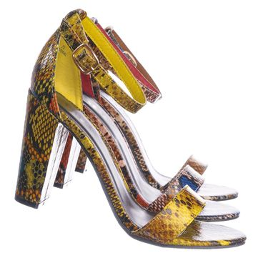 Mania38 Block Heel Snake Print Dress Sandal - 2 Piece Ankle Strap Open Toe Shoe