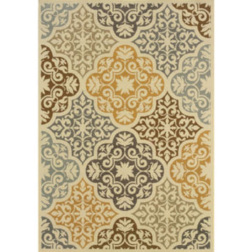 Outdoor/ Indoor Ivory/ Grey Area Rug | Overstock.com