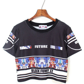 Transformers Print Short Sleeve Cropped Top