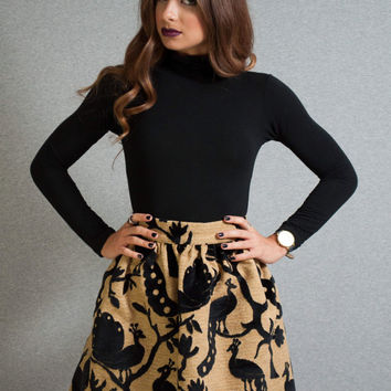 Puffy Skirt, peacock skirt, brocade skirt, velvet details skirt