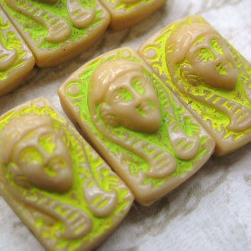 Rare vintage Egyptian Revival tan latte ecru glass 2 hole beads Pharaoh Cleopatra (4)