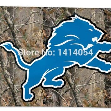 Detroit Lions   real tree camo  Flag 150X90CM Banner 100D Polyester3x5 FT flag brass grommets 001, free shipping