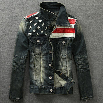 Men's American Flag Denim Jacket Slim Fit Long Sleeve Outwear
