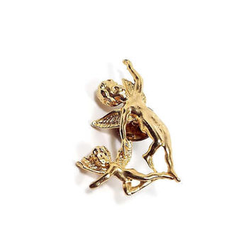 Angel Cherubs Vintage Tack Pin Gold Tone Clutch Back Lapel Pin Retro Religious Christian Jewelry