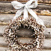 ANTIQUE WHITE & SILVER Wedding Wreath-Inspired Vintage Rustic Berry Wreath-Cottage Garden Wedding-Scented Vanilla-Choose Scent- Ribbon Color