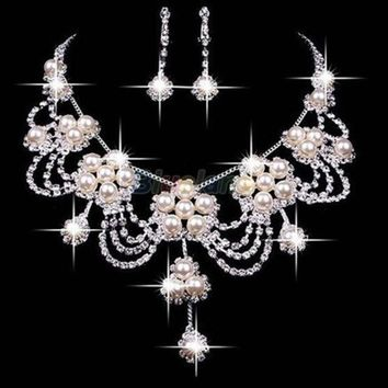 CREYUG3 Faux Pearl Necklace Earring Jewelry Set For Bride Bridal Wedding = 1929973572