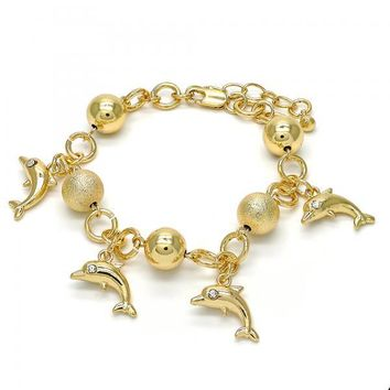 Gold Layered 03.179.0053.07 Charm Bracelet, Dolphin Design, with White Crystal, Matte Finish, Golden Tone
