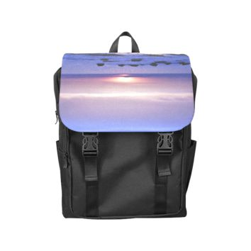 Blue And Purple Sunset Back Pack Casual Shoulders Backpack