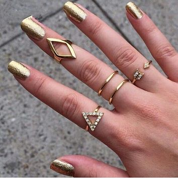 Gold Plating Rhinestone Trangle rhombus Arrow Finger Rings Set ,5pcs/set