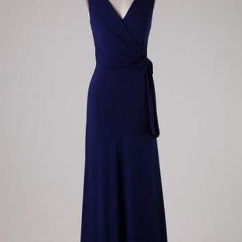 Wrap Front Jersey Maxi Dress - Navy Blue