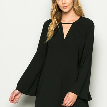 Flowy Bell Shape Sleeved Dress - Black