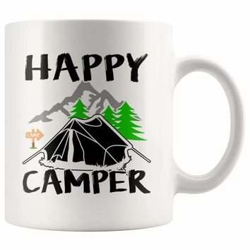 Tent Camping Mug Happy Camper 11oz White Coffee Mugs