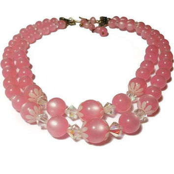 Pink bead choker, or child's necklace, pink acrylic graduated beads with white daisy end caps, double strand, interspersed with crystals