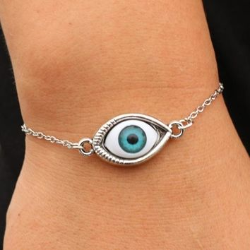 SL193 Blue Evil Eye Bracelets Bangle pulseras mujer For Women Men Punk Jewelry Wrap Bracelet European & American