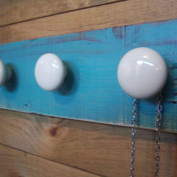 Jewelry Hanger-Jewelry Display-Teal Jewelry Organizer-Rustic Wall Hanging-Rustic Home Decor-Distressed Jewelry Hanger