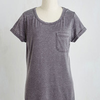 Minimal Mid-length Short Sleeves Your Placid or Mine? Top in Smoke by ModCloth