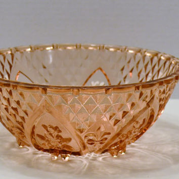 "Vintage Pink Depression Glass Footed Bowl 10"" PanchosPorch"