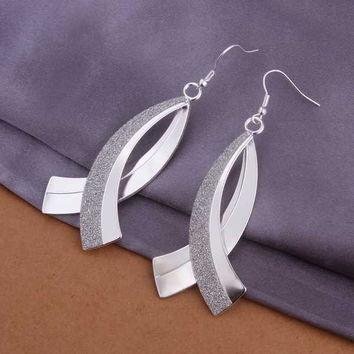 silver plated earing jewelry Scimitar Sand drop earring 325 MP