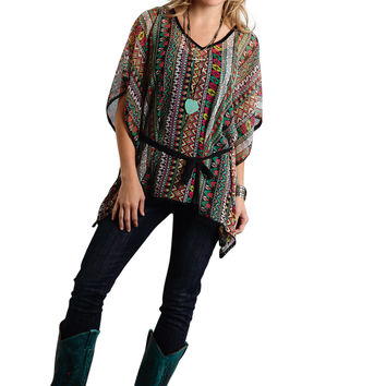Roper Ladies 9712 Aztec Printed Chiffon Blouse Studio West Summer Festival Short Sleeve Shirt Pullover Closure