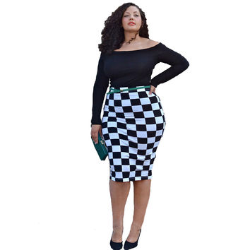 Black and White Geometric Print Off Shoulder Long Sleeve Midi Dress