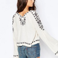 Free People High Times Embroidered Blouse In Cream