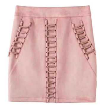 Pink High Waist Faux Suede Lace Up Mini Skirt