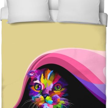 ROB Cat In Hiding Duvet Cover