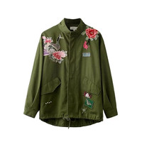 Green Animal Embroidery Tops Jacket [8542259015]