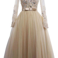 A-line V Neck Tulle Wedding Dress With Long Sleeves  Am214