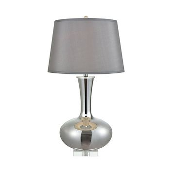 SILVER GLASS LAMP  WITH CRYSTAL BASE