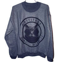 Cattitude Sweatshirt  Large by burgerandfriends on Etsy