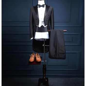 New Arrival Unique Fashion Slim Double Breasted Groom Tuxedos/Men's Business Suit/Black Gentleman Tuxedos 1094
