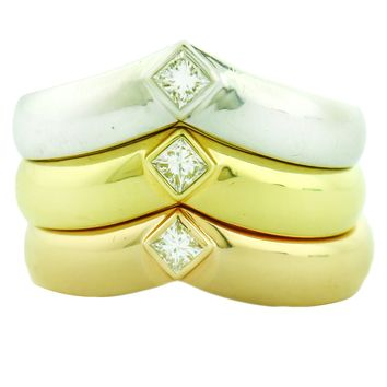 Cartier 18k Gold Princess-cut Solitaire Diamond Band Set Ring