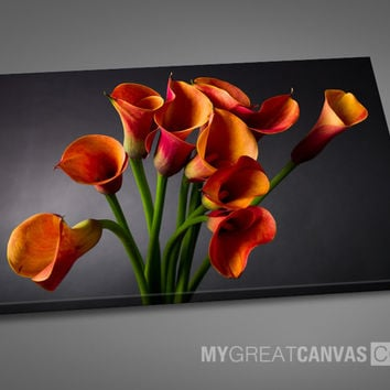 Large Wall Art Tulip Flower Canvas ART Print | Orange Calla Lilies Art Canvas Painting