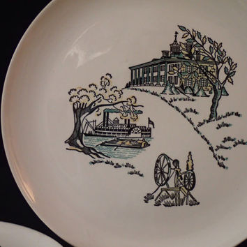 Stetson Marcrest American Heritage Scenes Dinnerware, Colonial America, Chop Plate or platter and 2 dinner plates, Americana
