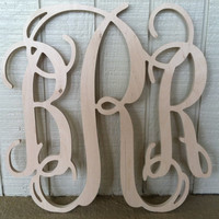 22 inch Wooden Monogram Letters. Great for by LeagueofLetters