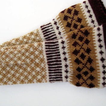Warm women's wool mittens with large cuff, handmade,Latvia. Hand knitted wool mittens, latvian mittens, knitted patterned mittens,arm warmer