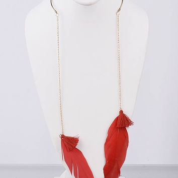Feather and Tassel Open Collar Necklace