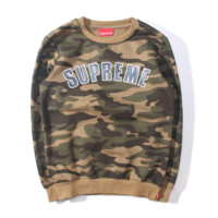 Sweater Collection Edition Supreme autumn and winter new men and women couple cotton velvet plus cashmere sweater Printed camouflage