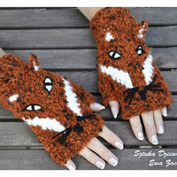 Fox Fingerless mittens , Fingerless mittens , orange gloves, animal gloves , knit gloves