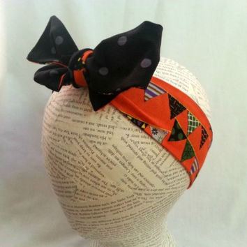 Reversible Halloween Head Wrap - Orange & Black Headwrap - Size Infant to Adult - Knot Tie Headband - Womens Teen Toddler Infant Headwrap