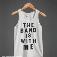 The Band Is With Me (Vintage Tank)-Unisex White Tank