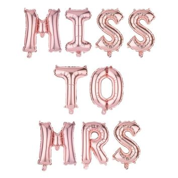 MISS TO MRS Non-Floating Letter Balloons - 13 Inch Rose Gold