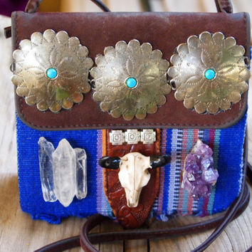 Reconstructed Bohemian Medallion Cross Body Bag with Mexican Fabric, Amethyst, Quartz and Bison Skull