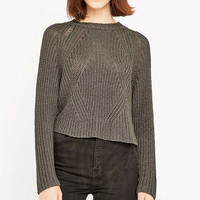 Light Before Dark Funnel Neck Crop Jumper - Urban Outfitters