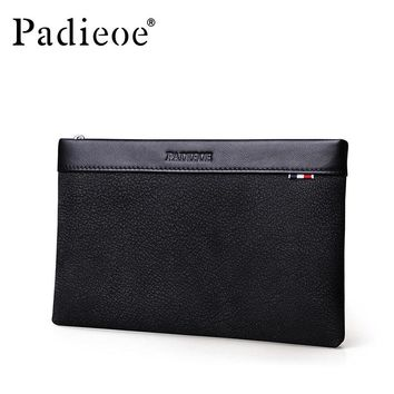 New design Genuine Leather Men Bag Clutches Wallet Businessman Phone Envelope Bag Handbag Male Luxury Long Purse